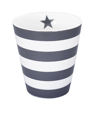 Krasilnikoff Happy Mug Stripes charcoal